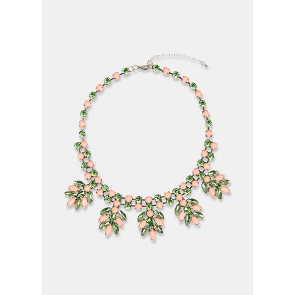Essentiel Antwerp Green and Pink Rhinestone Encrusted Necklace