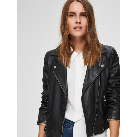 Selected Femme Black Leather Biker Jacket