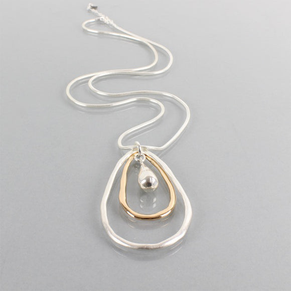 Tilley & Grace Yvonne Gold and Silver Tear Drop Necklace