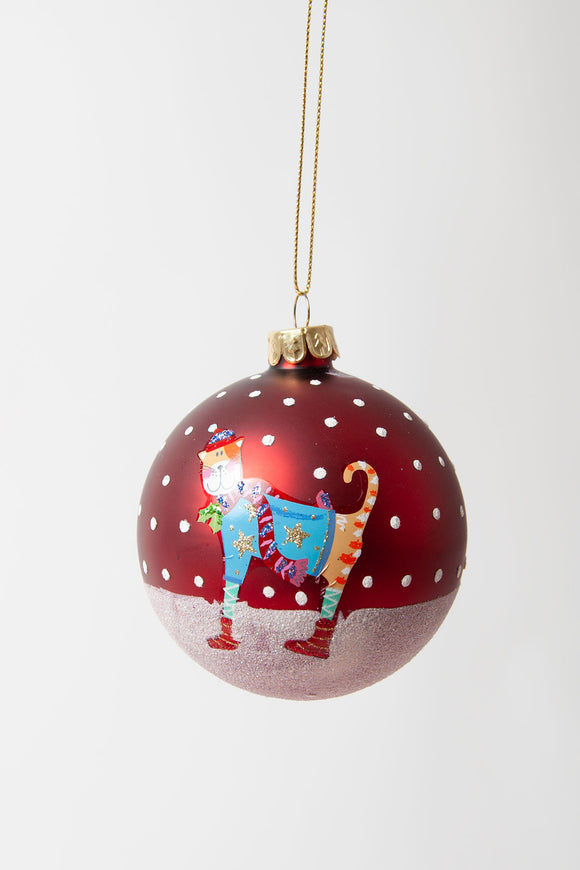 Cat Christmas Scene Bauble