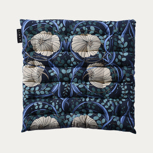 Linum Nouveau Seat Cushion in Ink Blue