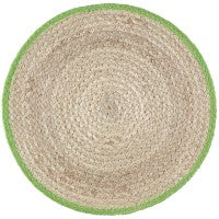 The Braided Rug Company - Set of 6 Calypso Jute Placemats Lime