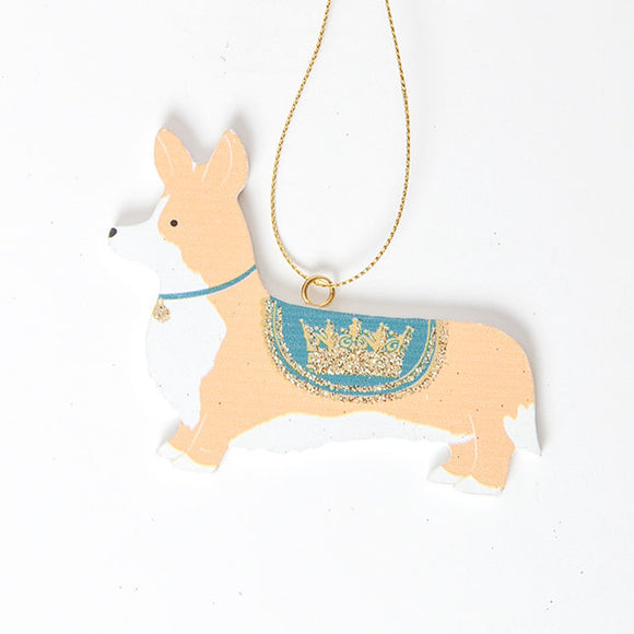 Gisela Graham - Wooden Corgi Tree Decoration in Blue