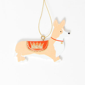 Gisela Graham - Wooden Corgi Tree Decoration in Red