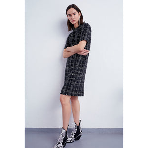 Set Fashion Short-Sleeved Bouclé Checked Pattern Dress