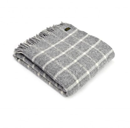 Tweedmill - Wool Check Throw in Grey