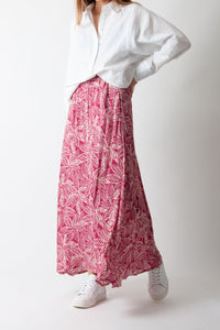 Hartford - Joline Skirt in Pink and White Leaves