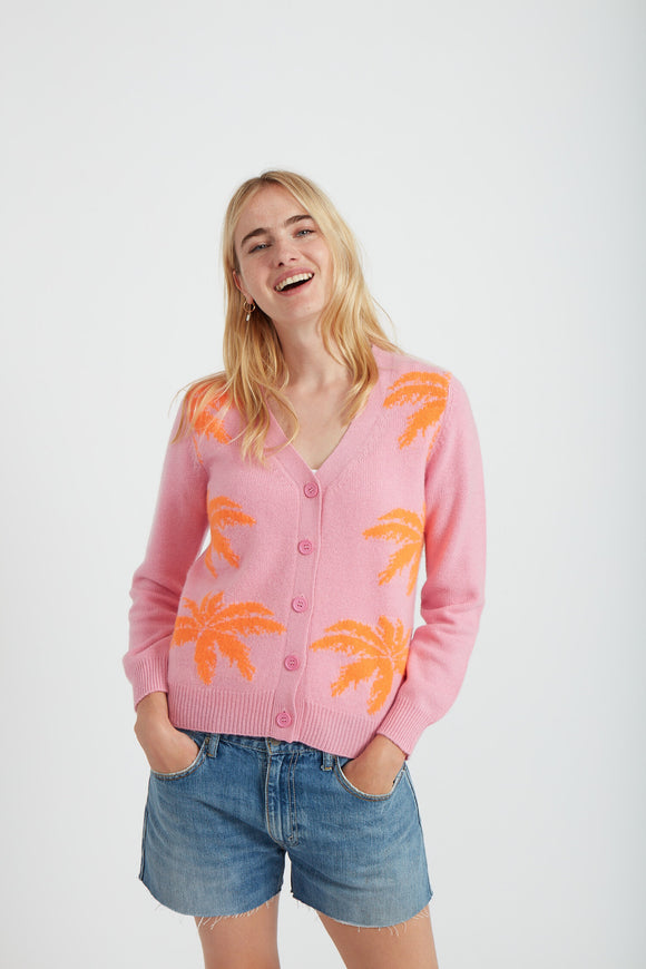 Jumper 1234 - Palm Tree Cardigan In Flamingo And Neon Orange