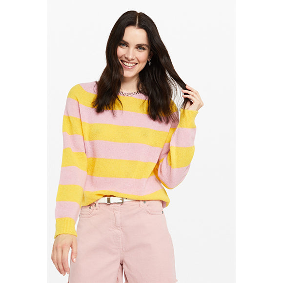 Ottod'Ame Striped Mohair Jumper in Pink & Yellow