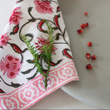 Grand Illusions - Hand Block Printed Napkin in Pink Berry Pack of 4