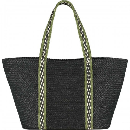 The Braided Rug Company - Long Handle Tote Bag Olive/Black Large