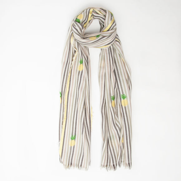 Ombre - Pineapple Stripe Scarf in Yellow & Grey
