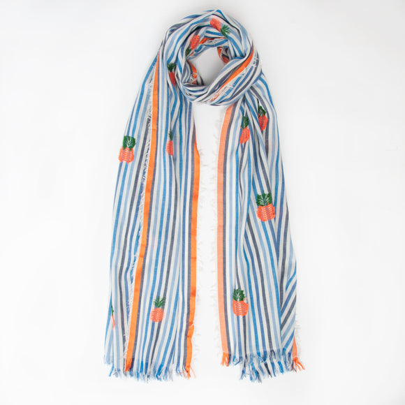Ombre - Pineapple Stripe Scarf in Blue & Orange