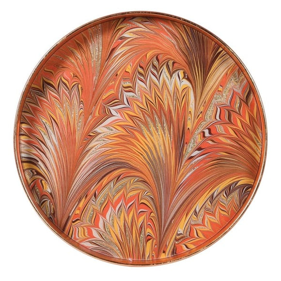 Coach House - Marbled Orange Lacquer Tray