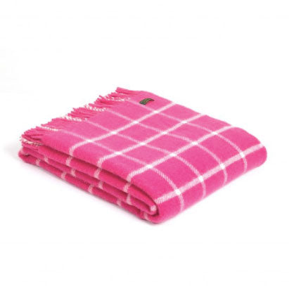 Tweedmill - Wool Check Throw in Pink