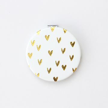 Caroline Gardner - Gold Hearts Pocket Mirror