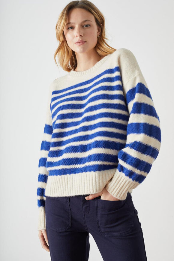 Leon & Harper - Macan Stripe Jumper In Blue
