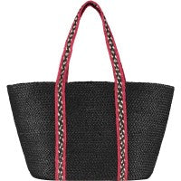 The Braided Rug Company - Long Handle Tote Bag Red/Black Large
