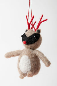 Gisela Graham - Wool Reindeer Antler Tree Decoration