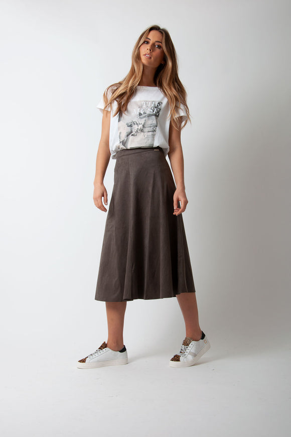 Rino & Pelle - Ranomi Faux Suede Circle Skirt