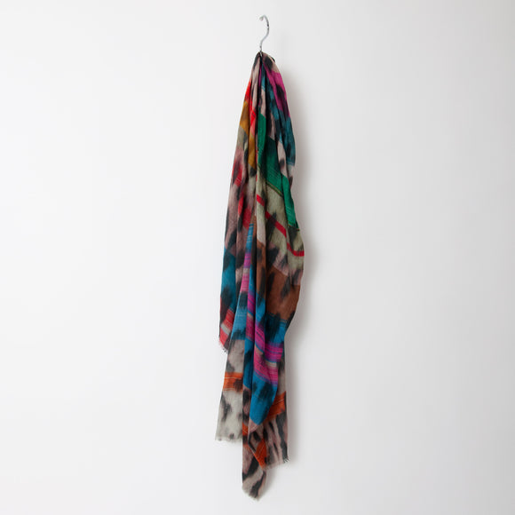 Ombre -  Rainbow Leopard Print Scarf