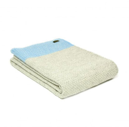 Tweedmill - Pure New Wool Crossweave Throw with Whipped Edge in Sea Blue