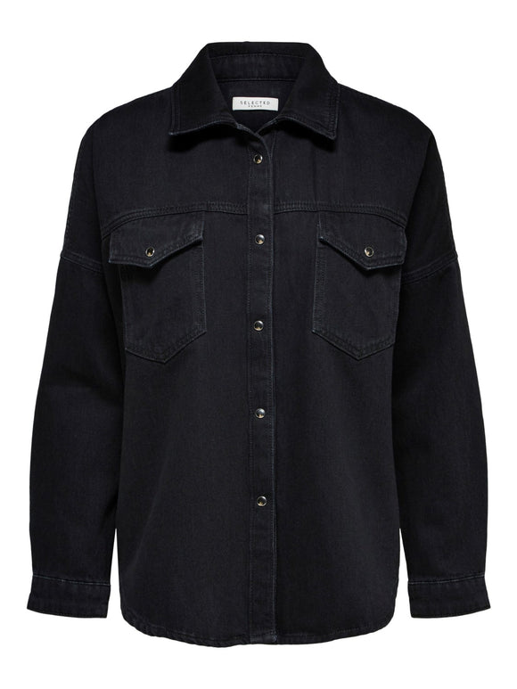 Selected Femme - Black denim shirt (shacket)