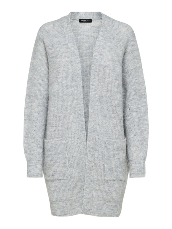 Selected Femme - Long Knit Cardigan - Light Grey