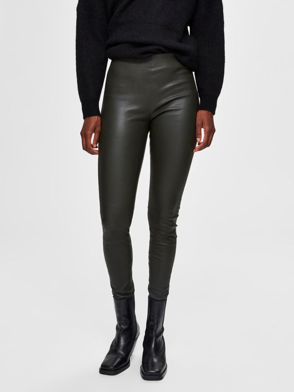 Selected Femme - Sylvia Stretch Leather Leggings - Rosin