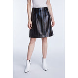 Set Fashion Vegan Leather Black Skirt