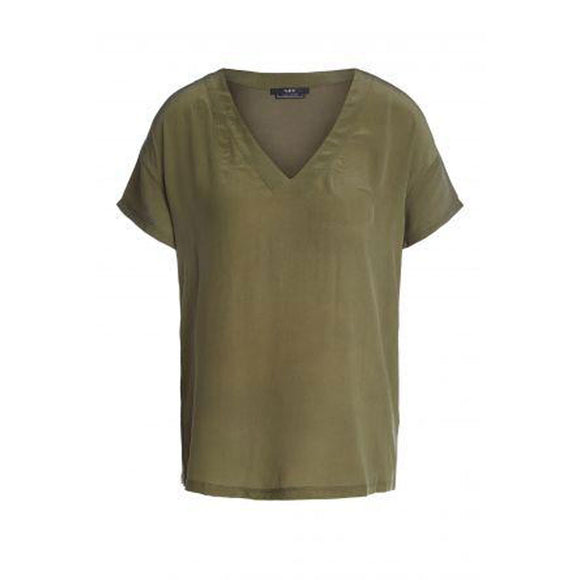 Set Fashion - Khaki V- Neck Silk Top