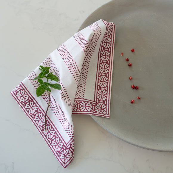 Grand Illusions - Hand Block Printed Napkins in Raspberry