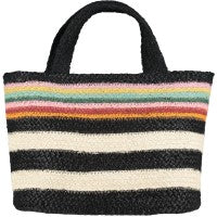 100% Organic Jute Black/White tote small