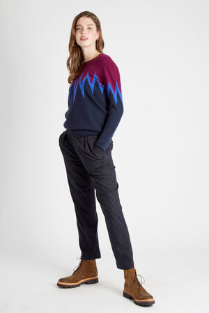 Jumper 1234 - Starburst Arms - Beetroot & Navy