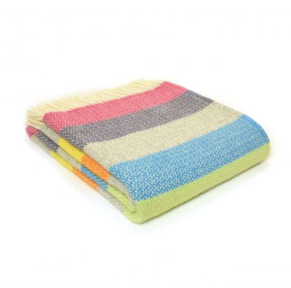 Tweedmill - Wool Illusion Stripe Throw in Tutti