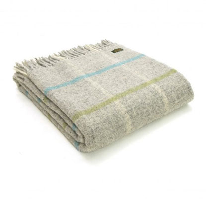 Tweedmill - Wool Windowpane Throw in Stone