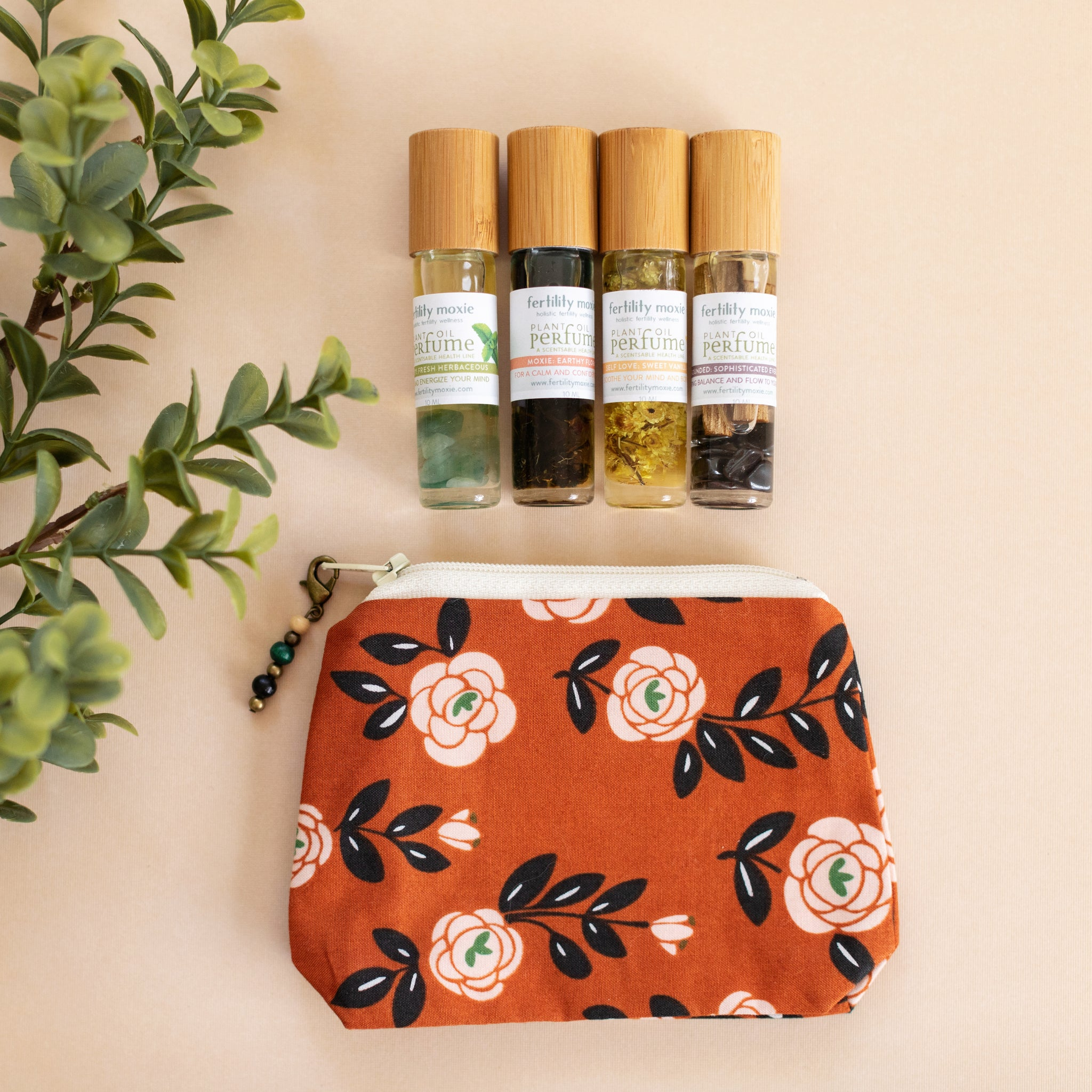 Rose Trellis Brick Bag with Fertility Moxie Plant Perfume Set-A Line from Scentsable Health
