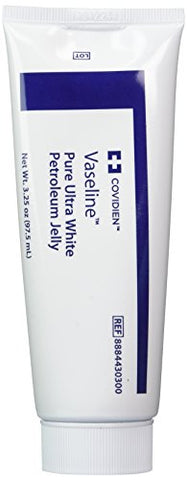 Medical Grade Vaseline Pure Ultra White Petroleum Jelly, 3.25 Oz (97.5 Ml) Tubes Only By Kendall/Covidien