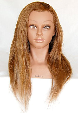 Ladella Beauty 24   Cosmetology (Heavy Density) With Shoulder 100% Human Hair Mannequin Manikin Training Head - Layla (Terry)