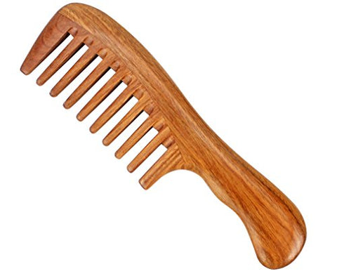Jaciya Wide Tooth Comb Natural Green Sandal Wooden Hair Comb - No Static Sandalwood Scent Natural Hair Detangler Comb - Handmade Wavy Handle Detangling Comb