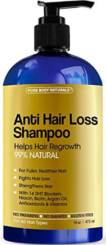 Pure Body Naturals, Argan Oil Hair Loss Prevention Therapy Shampoo 16 Oz - Sulfate-Free - With Biotin - 3 Months Supply