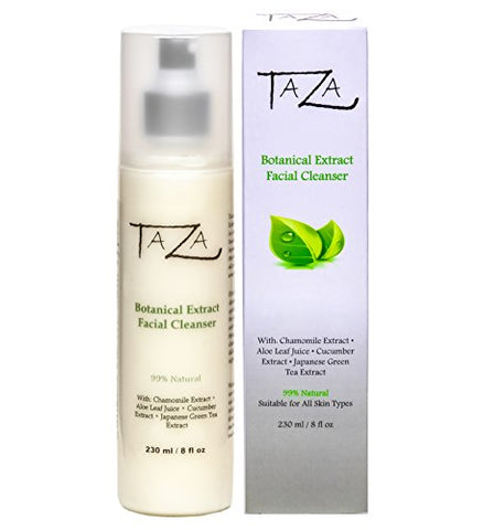Premium Taza Natural Botanical Extract Facial Cleanser, 8 Oz (231 Ml)  Firmer And Refined Skin  With: Chamomile Extract, Aloe Leaf Juice, Cucumber Extract, Japanese Green Tea Extract
