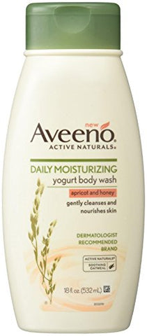 Aveeno Active Naturals Daily Moisturizing Body Yogurt Body Wash, Apricot And Honey, 18Oz, 18 Fluid Ounce