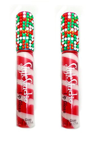 3C4G - Candy Cane Bling Lip Gloss, Set Of 2
