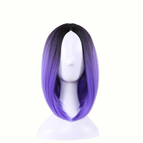 Wigood 12  Short Bob Wig Ombre Purple Straight Cosplay Wig With Free Wig Cap For Women