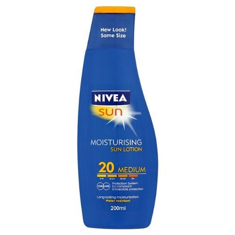 German Nivea Sun Spf 20 Sunscreen Water Resistant Lotion 200 Ml-From Germany- Shipping From Usa