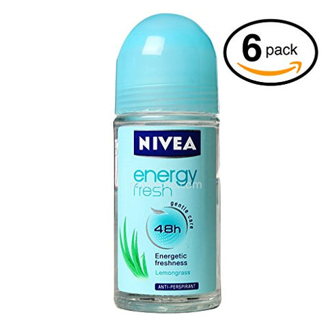 (Bottles) Nivea Energy Fresh Womens Roll-On Antiperspirant & Deodorant. 48-Hour Protection Against Underarm Wetness. (Bottles, 1.7Oz / 50Ml Each Bottle)