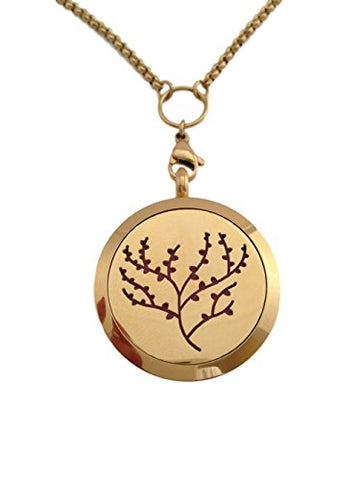 Essential Oils Diffuser Jewelry Aromatherapy Necklace Gold Plated 316 Stainless Steel Tree Of Life Pendant Locket 24 2.5Mm Chain And 7 Washable Refill Pads