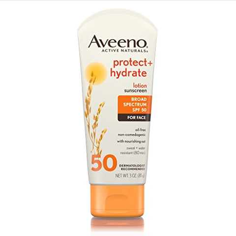 Aveeno Protect + Hydrate Lotion Sunscreen With Broad Spectrum Spf 50 For Face, Sweat Resistant, 3 Oz