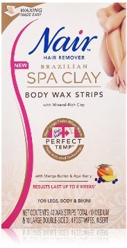 Nair Hair Remover Brazilian Spa Clay Body Wax Strips 40Ct Legs/Body
